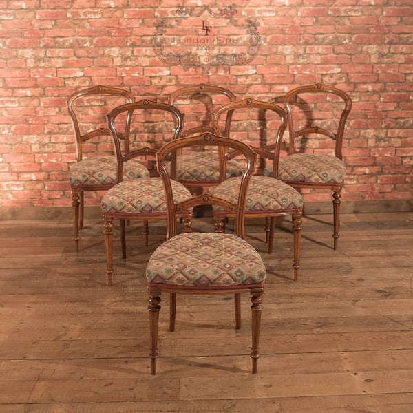 Chairs & Seating-Set of 6 Antique Dining Chairs, Aesthetic Movement - 2
