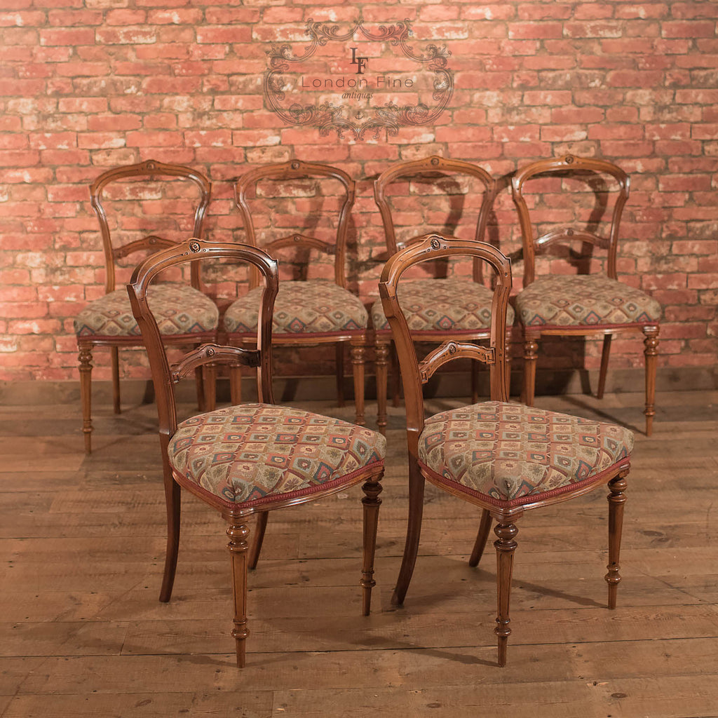 Chairs & Seating-Set of 6 Antique Dining Chairs, Aesthetic Movement - 1