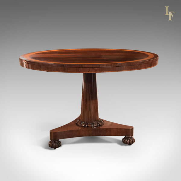 Antique Breakfast Table, William IV Rosewood Tilt Top - London Fine Antiques