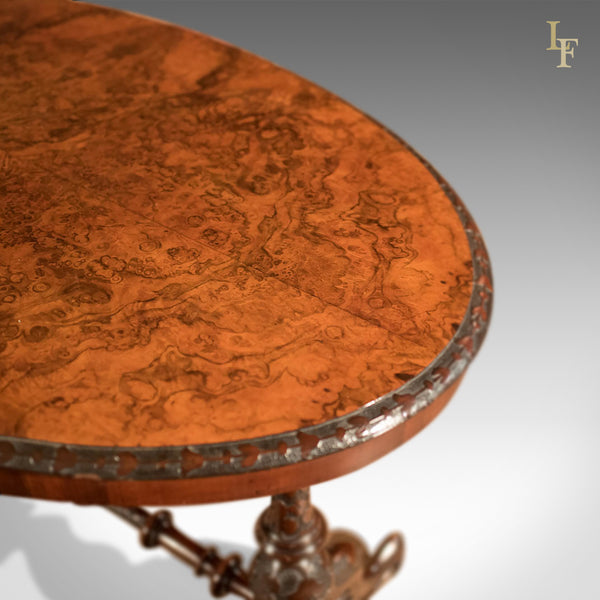 Antique Side Table, Victorian Burr Walnut, c1870 - London Fine Antiques