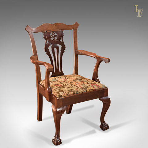 Antique Armchair, Victorian Chippendale Revival c.1880 - London Fine Antiques