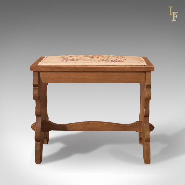 Antique Stool, Edwardian Oak Bench c.1910 - London Fine Antiques