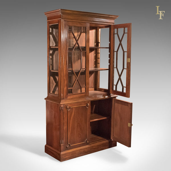 Mid-Century Glazed Bookcase Cabinet, Georgian Taste - London Fine Antiques
