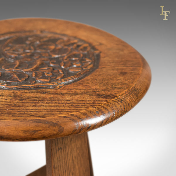 Arts & Crafts Side Table, Carved Oak, c.1890 - London Fine Antiques