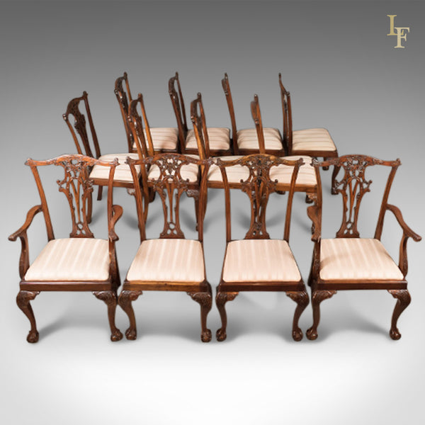 Set of 12 Dining Chairs, 20th Century Chippendale Revival - London Fine Antiques