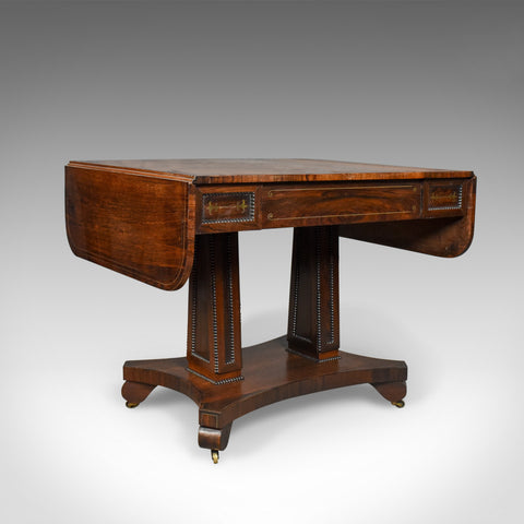 Antique Sofa Table, Rosewood, English, Regency, Pembroke, Circa 1820 - London Fine Antiques