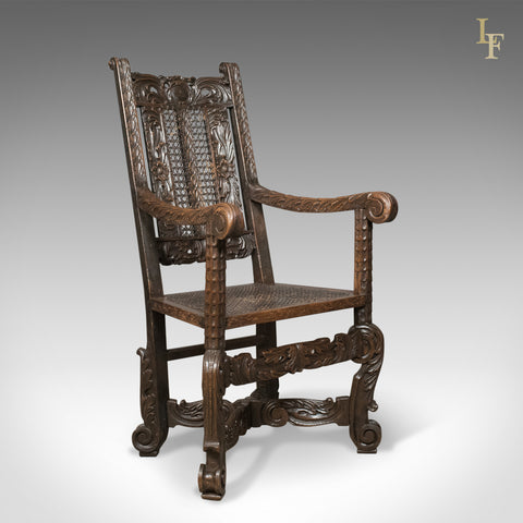 Antique Armchair, Victorian Carved Side, Hall Chair, English, Oak, Bergere, Circa 1880