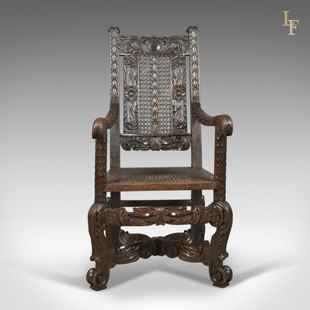 ... Antique Armchair, Victorian Carved Side, Hall, Bergere, English, Oak,  Circa ...