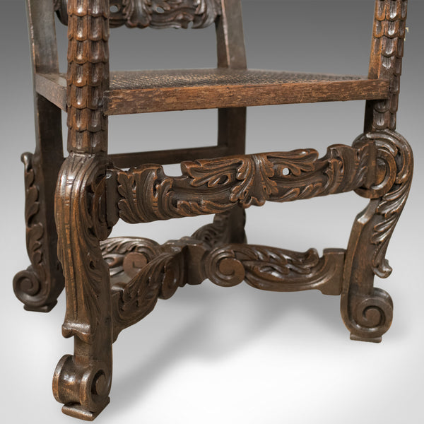 Antique Armchair, Victorian Carved Side, Hall, Bergere, English, Oak, Circa 1880 - London Fine Antiques