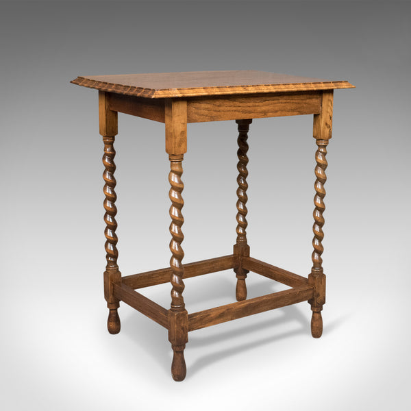 Antique Side Table, English, Edwardian, Oak, Stretcher, Circa 1910 - London Fine Antiques