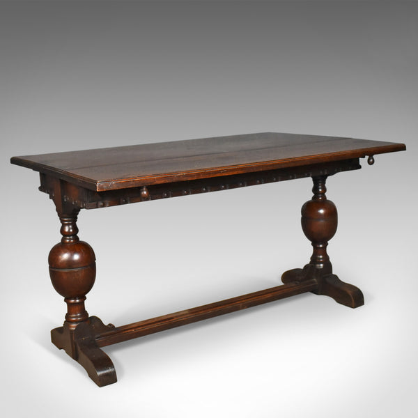 Extending Antique Dining Table, 17th Century Refectory Taste, English Circa 1900