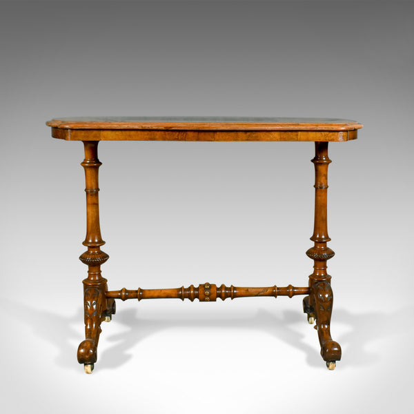 Antique Stretcher Table, Burr Walnut, English, Victorian, Circa 1880 - London Fine Antiques