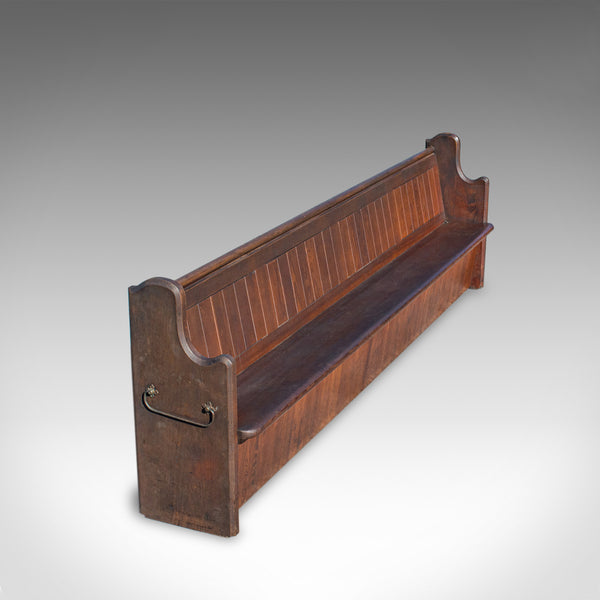 Large 10 foot Antique Pew, English, Pitch Pine, Bench, Seat, 7-8, Victorian
