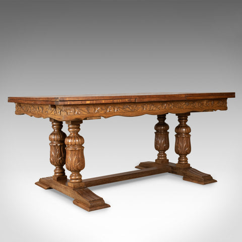 Large Antique Dining Table, French, Draw Leaf, Extending, Parquet, Dining c.1900
