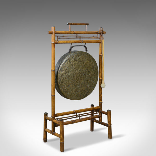 Large Antique Dinner Gong, Bamboo Frame, Victorian Instrument, Circa 1890