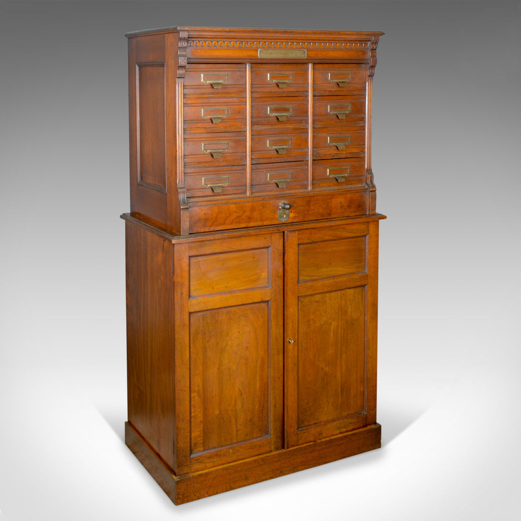 Large Antique Filing Cabinet, English, Edwardian, Walnut, Shannon File Co. c1910 - London Fine Antiques