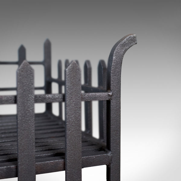 Large Antique Fire Basket, English, Victorian Fireplace Iron Grate, Circa 1900
