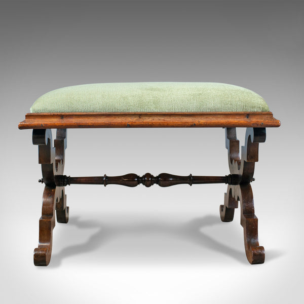 Antique Dressing Stool, Rosewood, Olive Green Cloth, English, Regency, c. 1820 - London Fine Antiques