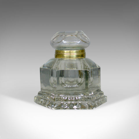Large Antique Ink Well, English, Crystal Glass, Desk, Mid 19th Century, c.1850 - London Fine Antiques