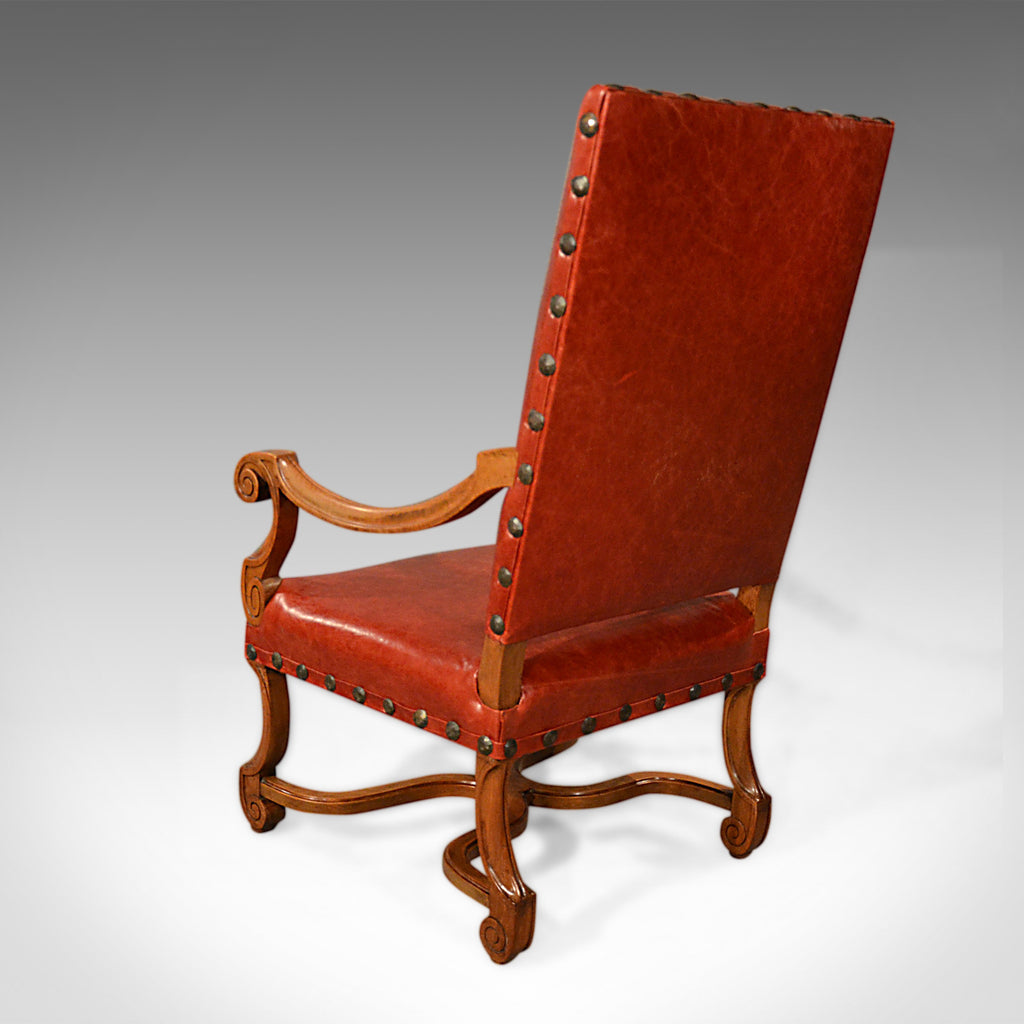 Large Antique Leather Armchair, Walnut Frame, French 19th ...