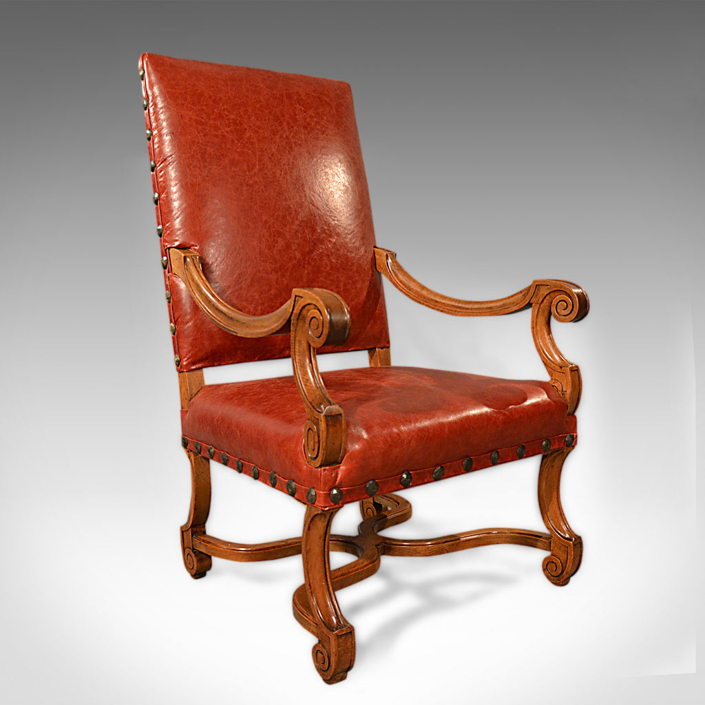 Large Antique Leather Armchair, Walnut Frame, French 19th Century Circa 1880 - London Fine Antiques