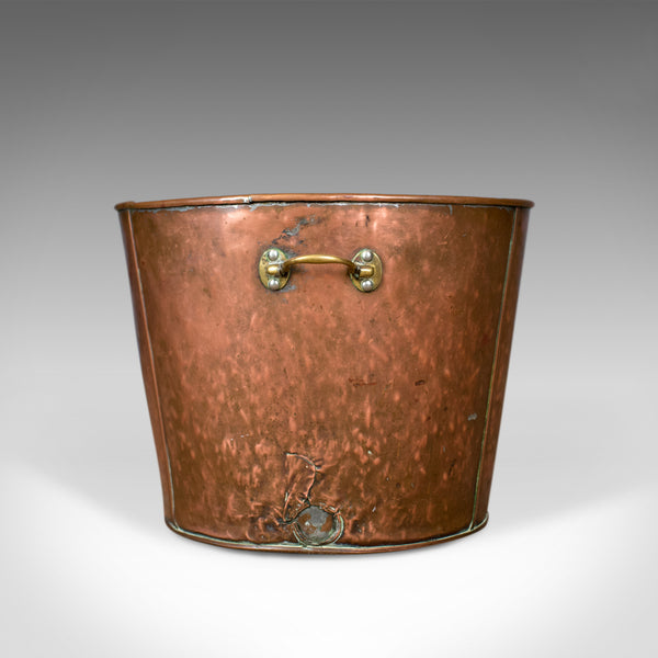 Large Antique Log Bin, English Fireside Scuttle, Coppered Finish, Circa 1900