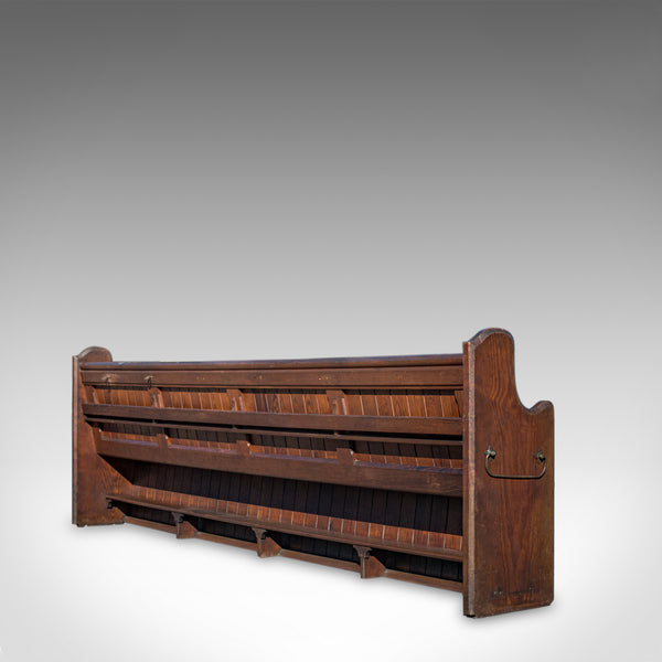 Large Antique Pew, 10 feet, English, Pitch Pine, Bench Seat, 7-8, 19th Century - London Fine Antiques
