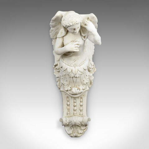 Large Antique Plaster Wall Bracket, Architectural, Figural, Angel, Corbel, c1900