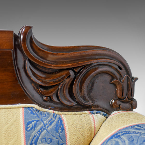 Large Antique Scroll End Settee, Regency Mahogany Sofa Daybed Circa 1820 - London Fine Antiques