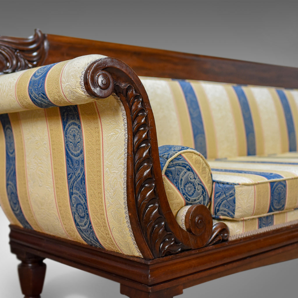Antique Scrollimgs: Large Antique Scroll End Settee, Regency Mahogany Sofa