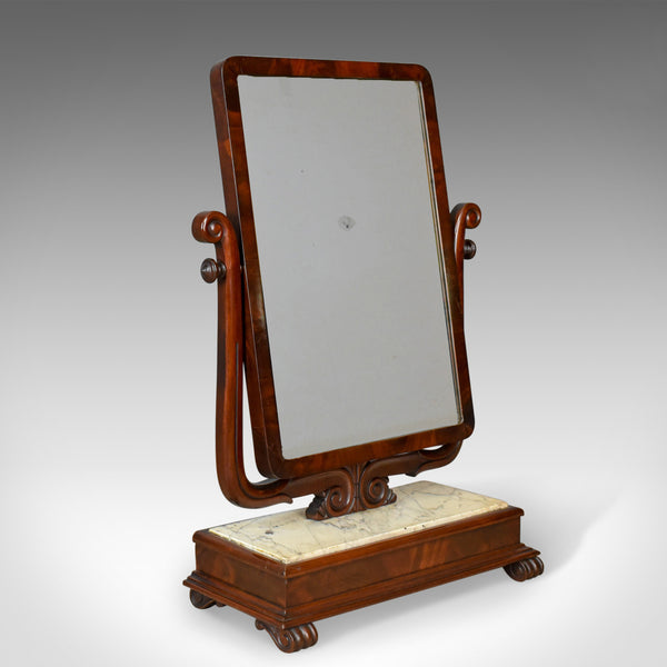 Large Antique Vanity Mirror, Toilet, Swing, English, Victorian Marble Circa 1850