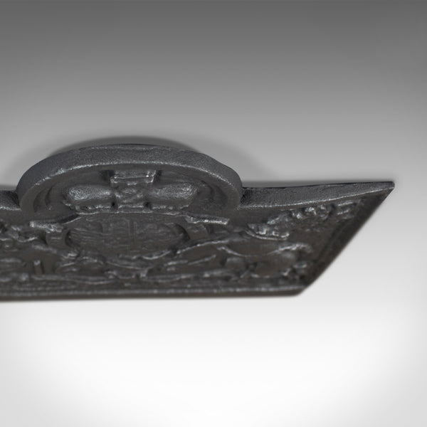 Large Cast Iron Fire Back, Royal Crest, Fireplace, C17th Revival made C20th