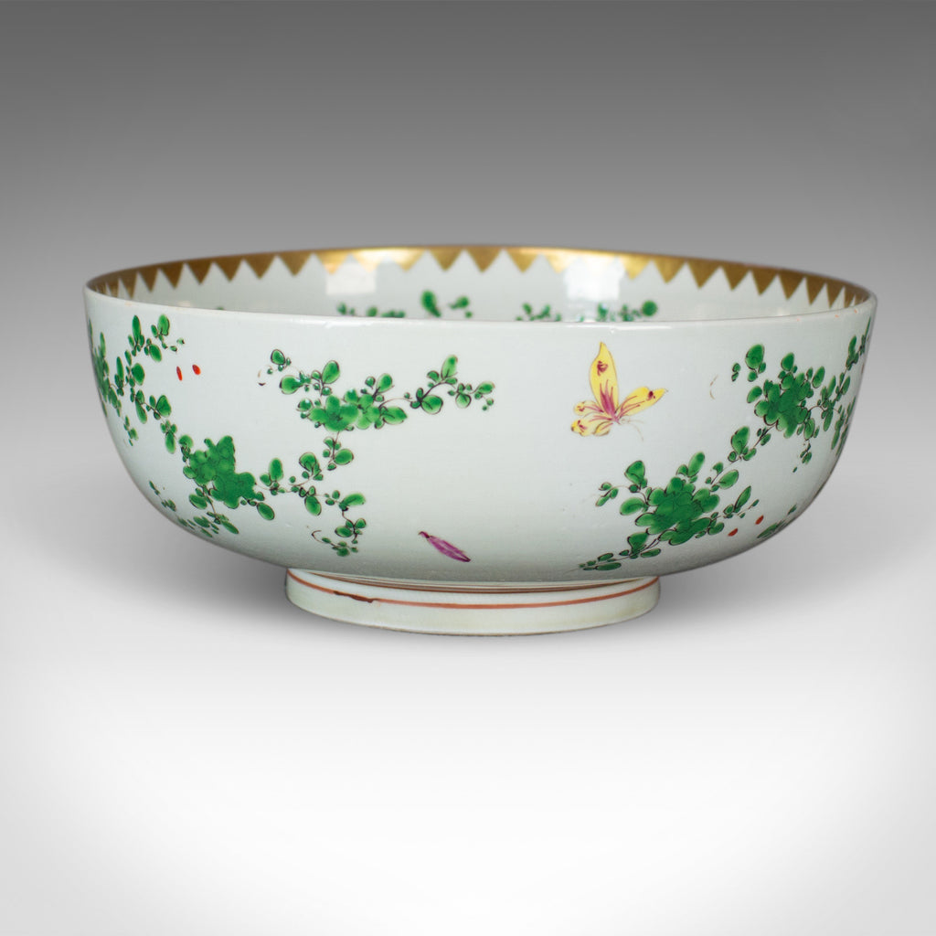 Large Chinese Porcelain Lychee Bowl, Natural Tones, White Ground, 20th Century