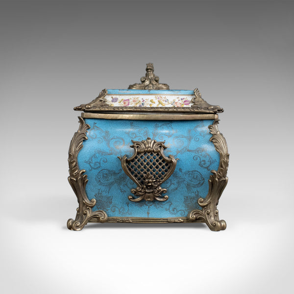 Large Decorative Porcelain Casket, Sevres Style Gilt Mounted Ceramic, Late C20th