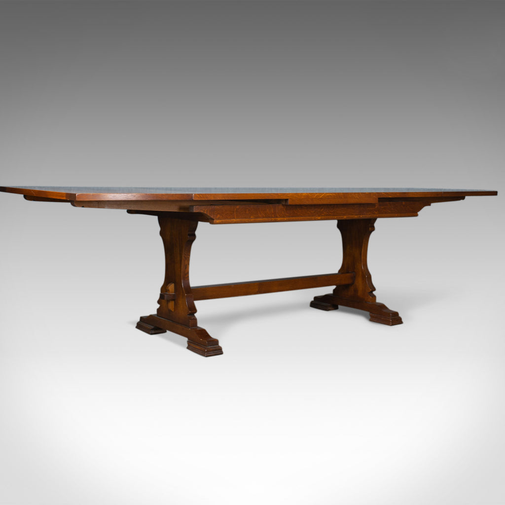 Large Dining Table, English, Oak, Draw Leaf, Extending, Seats up to 10, C20th