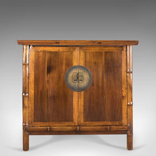Large Elm Cabinet, Oriental Taste, Late 20th Century Chinese Cupboard