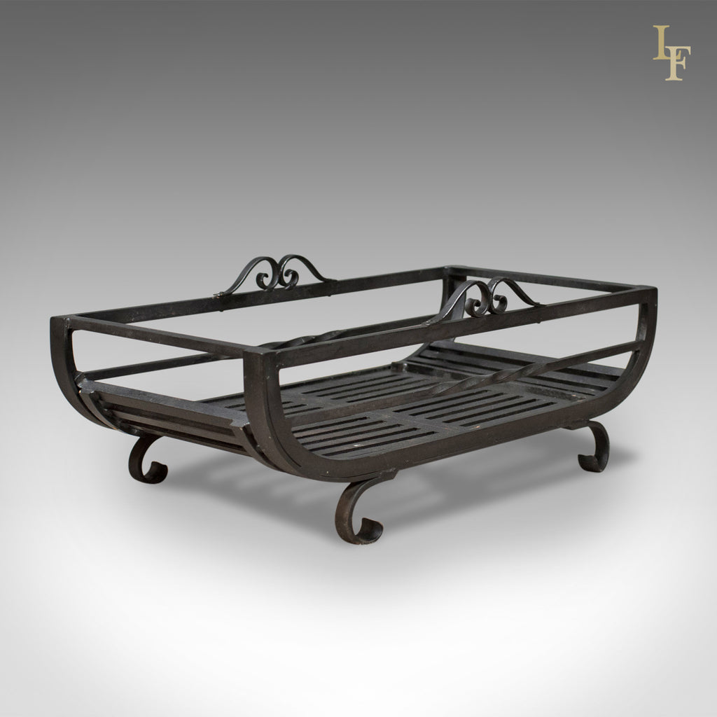Large Fire Basket, Fireplace Iron Grate, Late C20th