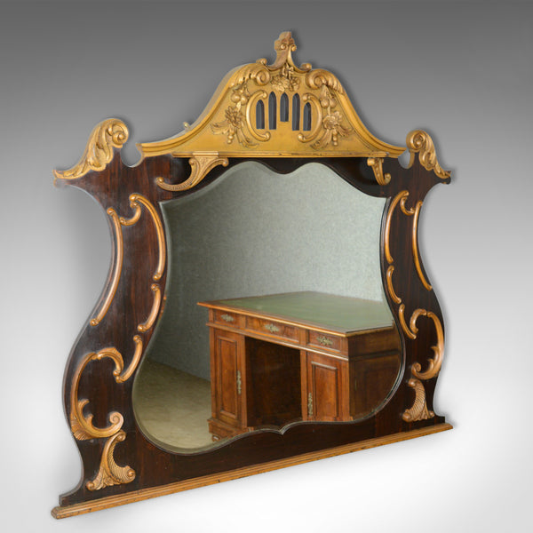 Large French Rococo Revival Overmantel Mirror, Hall, Ebonsied, Giltwood c.1910