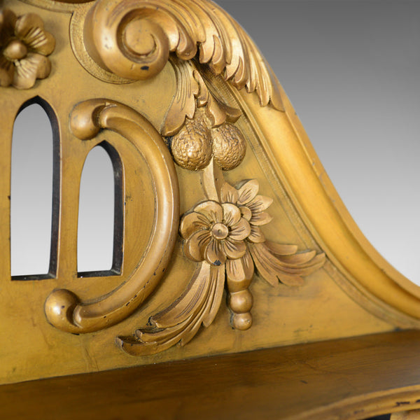 Large French Rococo Revival Overmantel Mirror, Hall, Ebonsied, Giltwood c.1910 - London Fine Antiques