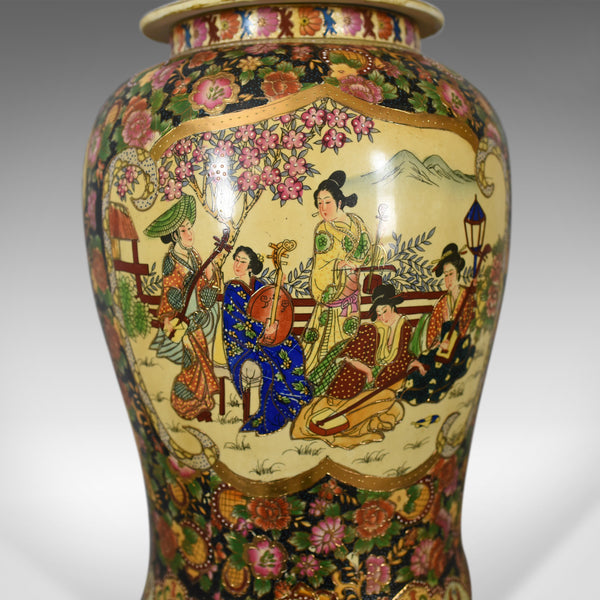Large Japanese Baluster Vase, Hand Painted Ceramic Urn, 20th Century - London Fine Antiques
