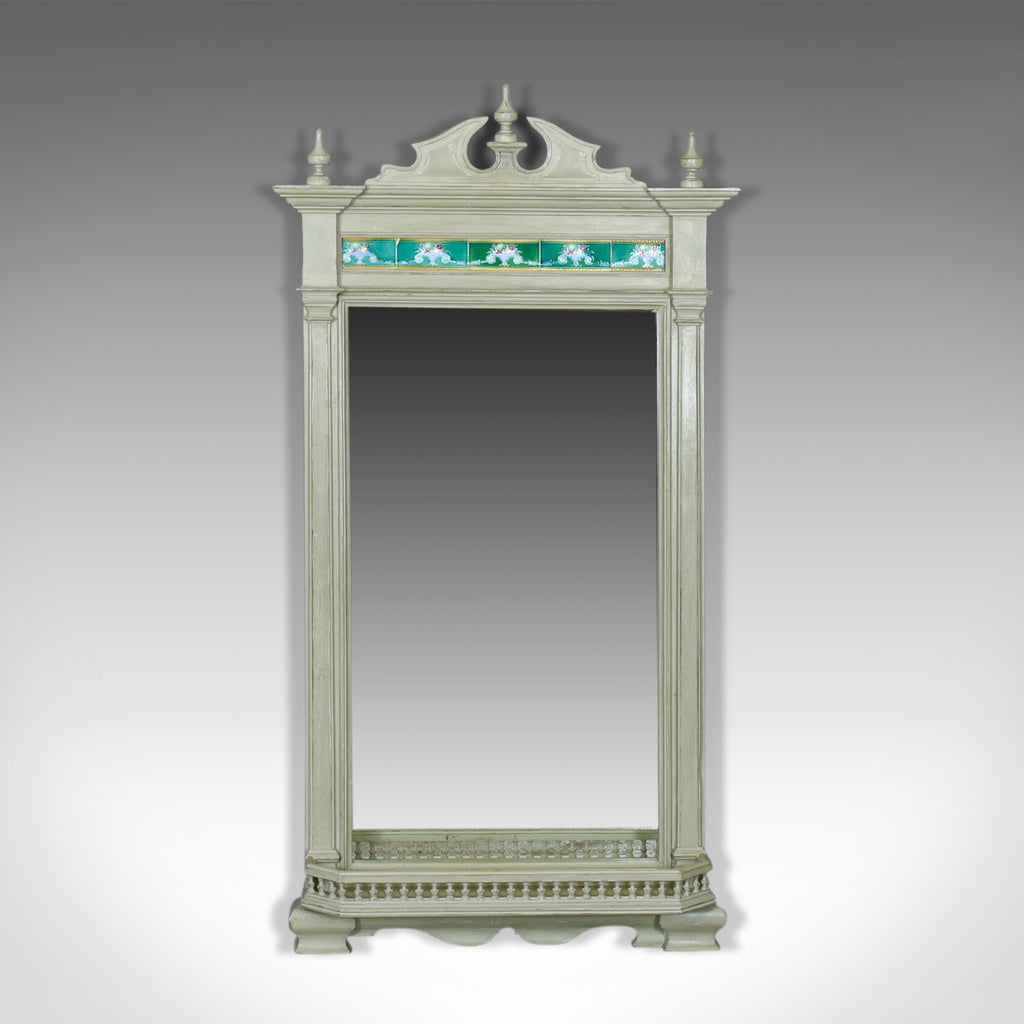 Large, Painted, Antique Wall Mirror, Victorian, Overmantel, Pier, Tiles c.1890 - London Fine Antiques