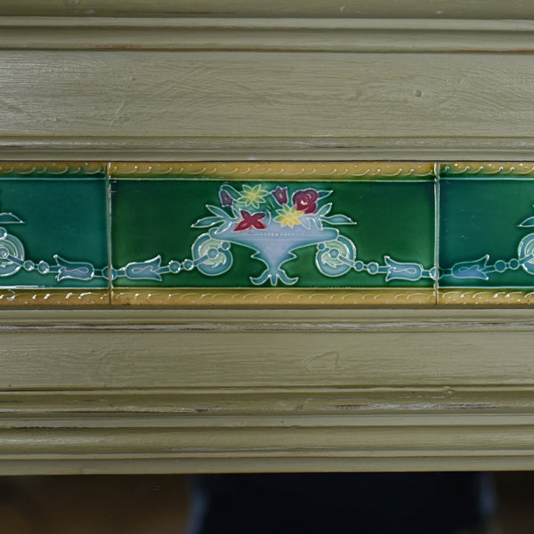Large, Painted, Antique Wall Mirror, Victorian, Overmantel, Pier, Tiles c.1890