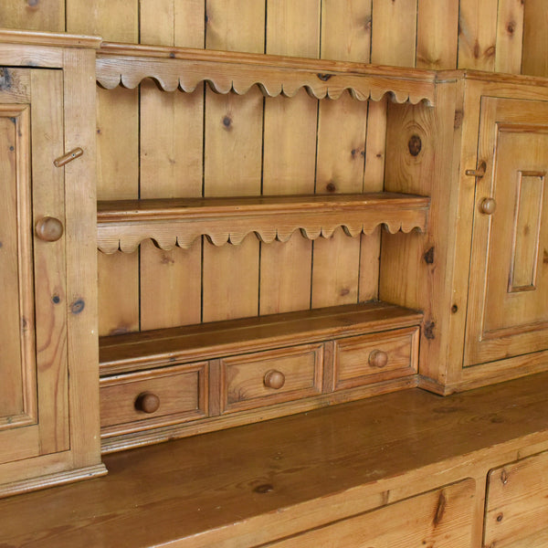 Large Pine Dresser in Victorian Taste Country Kitchen Cabinet Late 20th Century
