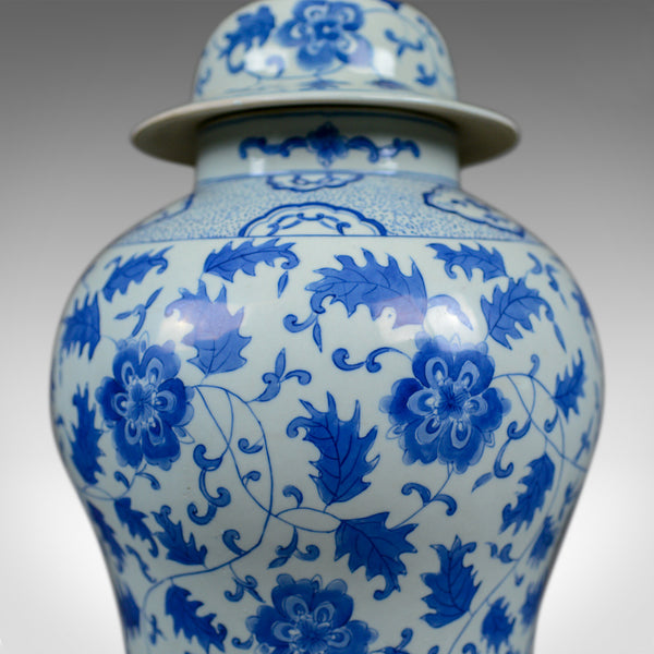 Large Spice Jar, Decorative, Blue and White, Baluster Vase with Lid, C20th - London Fine Antiques