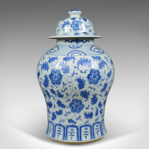 Large Spice Jar, Decorative, Blue and White, Baluster Vase with Lid, C20th