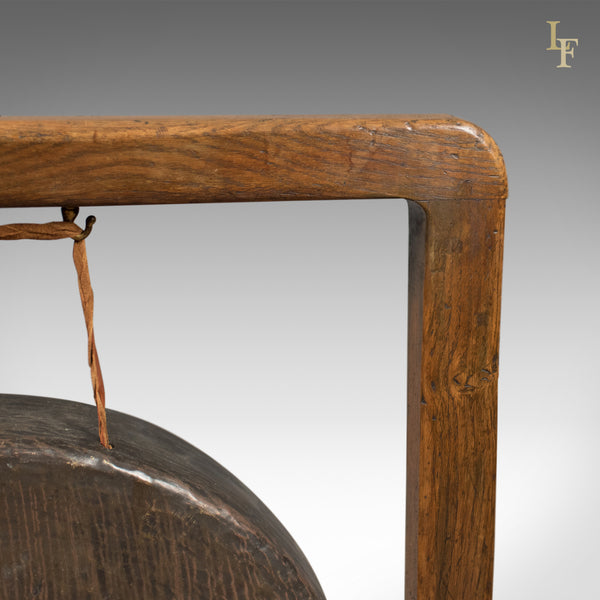 Large Victorian Dinner Gong with Beater in English Oak Frame, c.1870 - London Fine Antiques