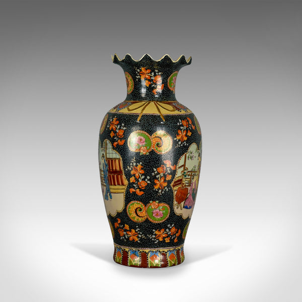 Large Vintage Japanese Baluster Vase, Decorated, Ceramic, Crimped Neck C20th