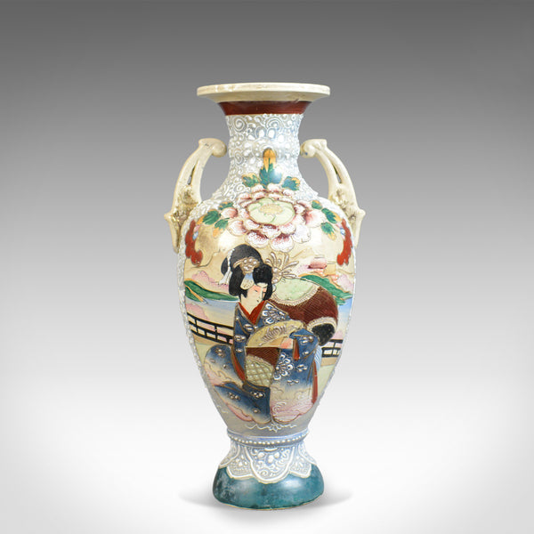 Large, Vintage Japanese Baluster Vase, Decorated, Ceramic, Urn, Mid-Late C20th - London Fine Antiques