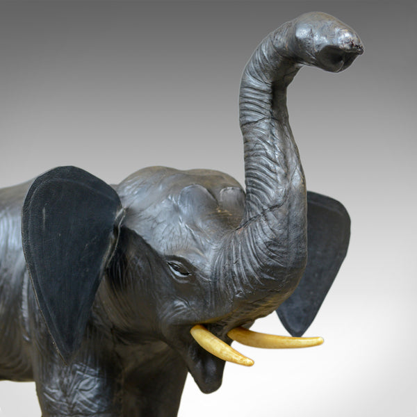 Large Vintage Leather Elephant Sculpture, 3 Foot Tall Model, Mid 20th Century - London Fine Antiques
