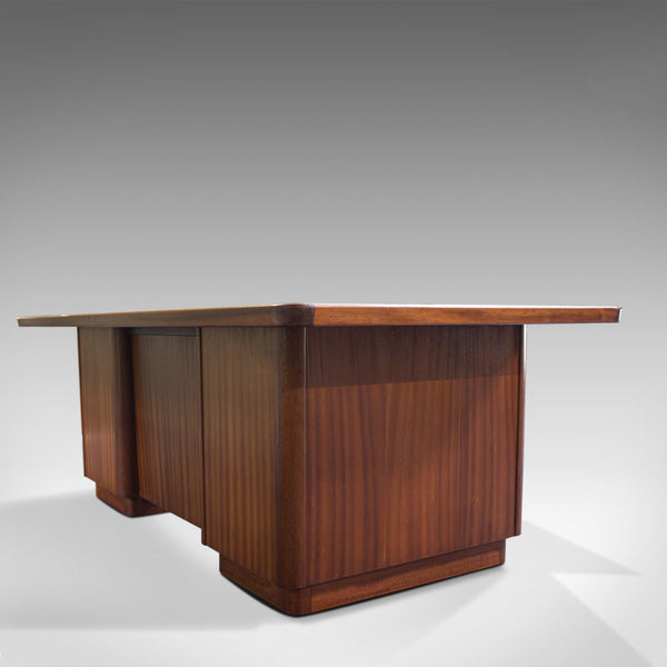 Large Vintage Pedestal Desk, Teak, Leather, Art Deco, Office, Abbess, Circa 1950 - London Fine Antiques